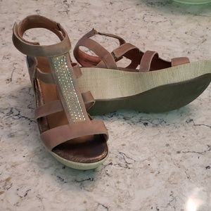 """NAOT sandals, worn once, great condition, 3"""" heal"""
